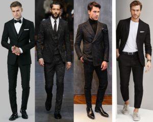 สูทผุ้ชายสีดำ แบบเป็นทางการ และลำลอง แฟชั่น แบบลาย
