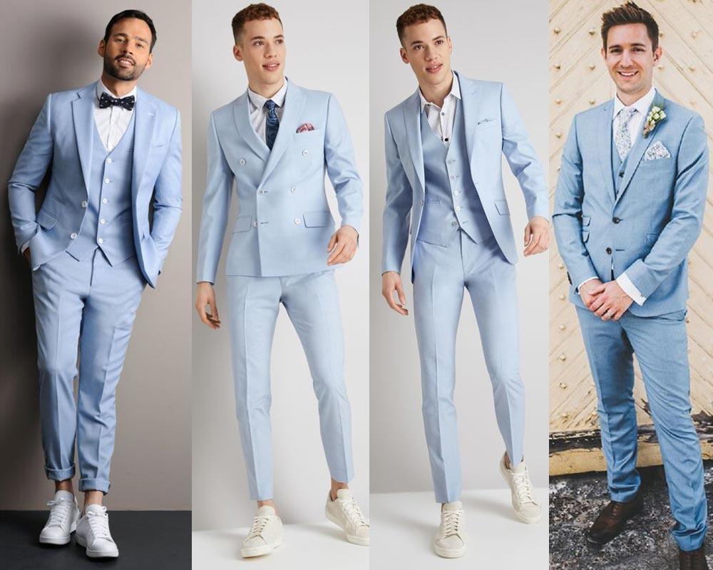 ชุดสูทสีฟ้า สดใส แบบทางการ และกึ่งทางการ