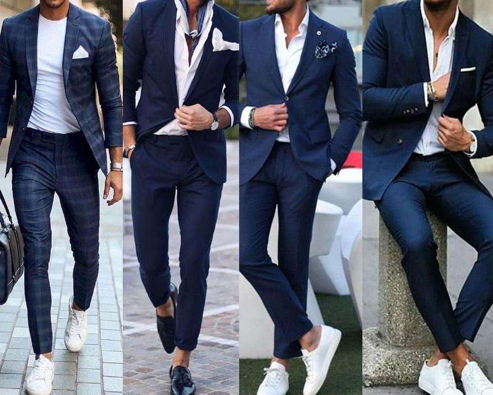 ใส่สูทสีน้ำเงิน ใส่เสื้อได้หลายประเภทไม่จำเป็นต้องเป็นเสื้อเชิ้ต