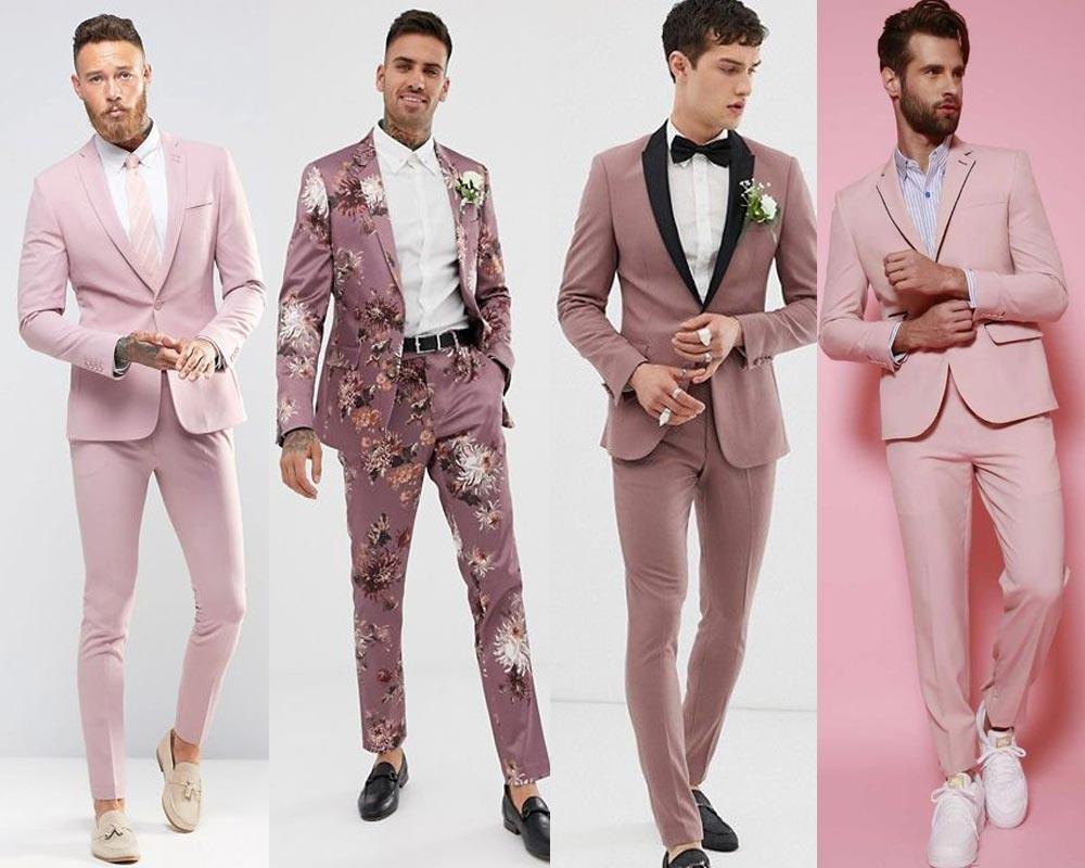 ชุดสูทผู้ชายสีชมพูไปงานแต่ง แบบทางการ ลำลอง และมีลวดลาย น่ารัก เท่ห์ สดใส