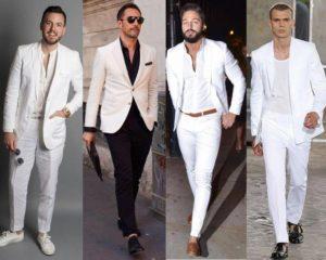 สูทขาวทางการ และลำลอง ใส่กับเสื้อยืดสบายๆ และเชิ้ต