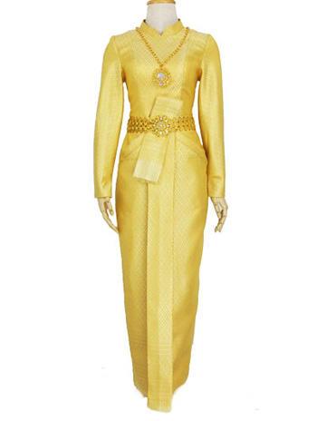 ชุดไทยบรมพิมาน ชุดไทยลายกนก สีเหลืองทองอร่ามหรูหรา