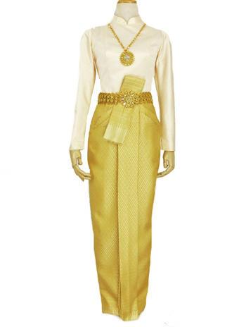 สไตล์ชุดไทยประยุกต์เสื้อบรมพิมาน ผ้าถุงสีทองจีบหน้านาง