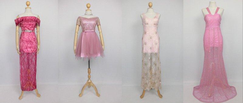 แนวชุดราตรีสีชมพู มีทั้งเเบบสั้นเเละยาว