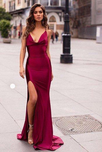 สายเดี่ยว ชุดไปงานแต่งกลางคืนสีแดง sexy บาดใจกระโปรงทรงผ่าหน้าขาสายเดี่ยว
