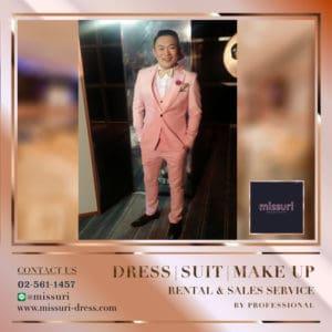 หล่อ เนี๊ยบชุดสูททรง Slim FItสีชมพูเเมตท์กับรองเท้าสีดำหูกระต่ายสีทอง