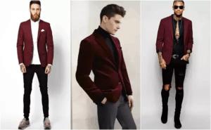 เสื้อสูทสีเเดงเเมตท์กับกางเกงยีนส์หรือกางเกงวัยรุ่นก็เข้ากัน