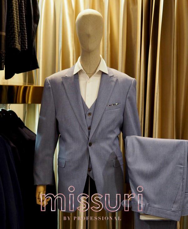 ชุดสูทสีฟ้า ทรงเข้ารูปพร้อมเสื้อกั๊ก