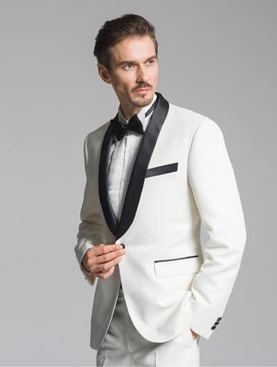 ชุดสูทสีขาวคอปกทักซิโด้สีดำ