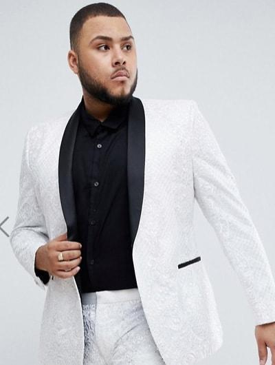 สูทสีขาวเสื้อสูทวสีขาวปกทักซิโด้สีดำ
