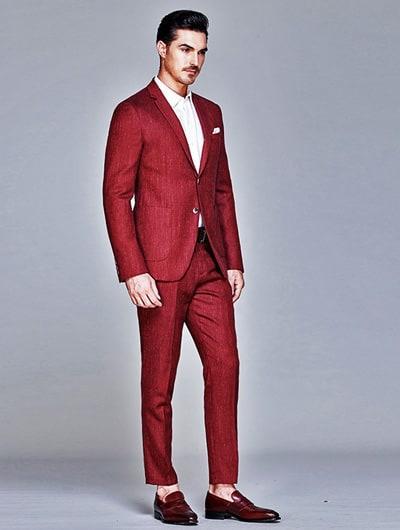 ผ้ากลิตเตอร์สีเเดงแบบหนึ่งกระดุม