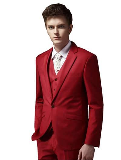 ชุดสูทสีเเดงสีสดผ้าเรียบแบบหนึ่งกระดุม