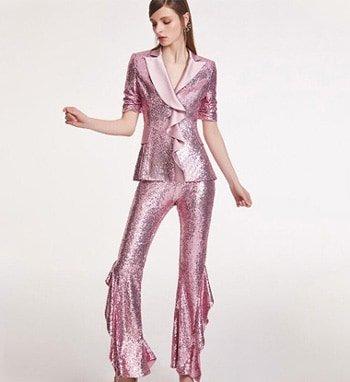 ชุดสูทแฟชั่น ผ้าเลื่อมดิสโก้ สีชมพู