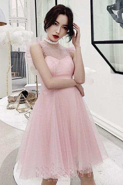 สไตล์น่ารักหรูหราแบบชุดราตรีสั้นสีชมพูเน้นเอวกระโปรงผ้าชีฟองทรงสุ่ม