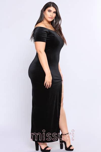 maxi dress ทรงเข้ารูปแขนสั้นแอบเปรี้ยวด้วยการผ่าหน้าขาสูงปังสุดๆ