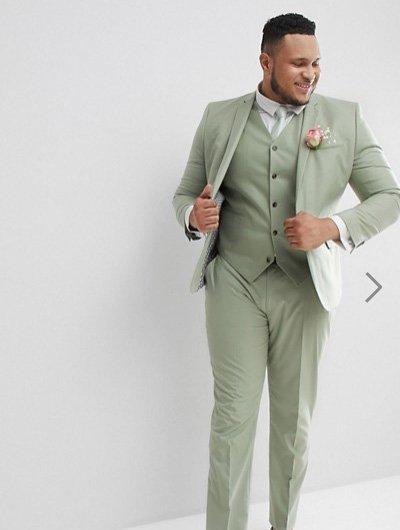 ชุดสูทผู้ชายสีมิ้นแบบเรียบหรู กางเกงทรงเข้ารูปสลิมฟิต