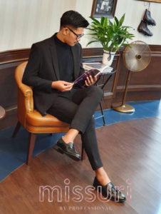 รีวิวจากคุณลูกค้าในชุดสีดำแบบทางการ กางเกงทรงเข้ารูปสลิมฟิตทันสมัย