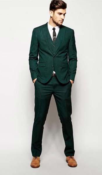 ชุดสูทสีเขียวพร้อมเสื้อกั๊กกางเกงทรงสลิมฟิต