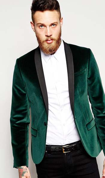 ทักซิโด้สีเขียวผ้ากำมะหยี่แมทต์เข้ากับกางเกงทรงสลิม