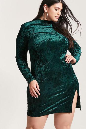 ผ้ากำมะหยี่แบบเรียบหรู ทรงเข้ารูปสีเขียวแขนยาว