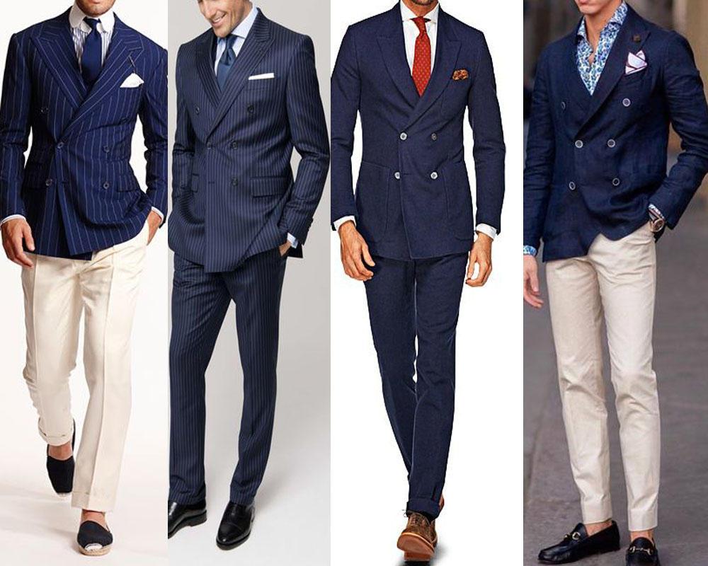 สูทสีน้ำเงินกรมทรง4กระดุม ใส่คู่กับกางเกงสีขาว เน้นความเรียบหรู