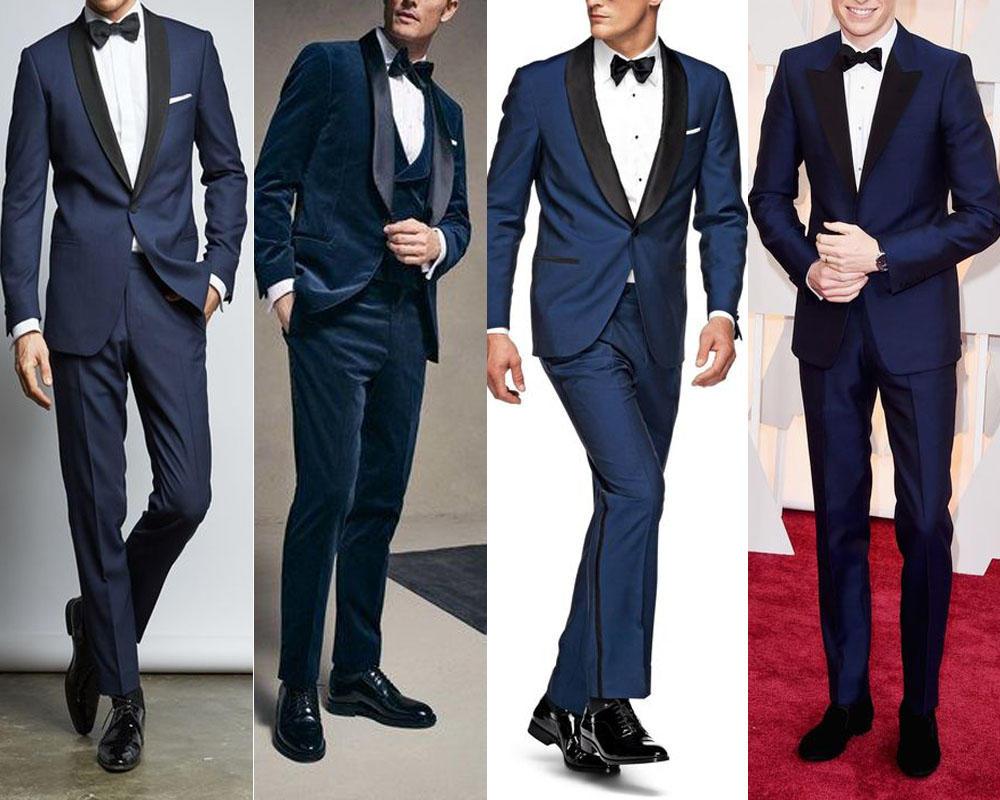 สูทสีน้ำเงิน ใส่คู่กับรองเท้าคัทชูสีดำ