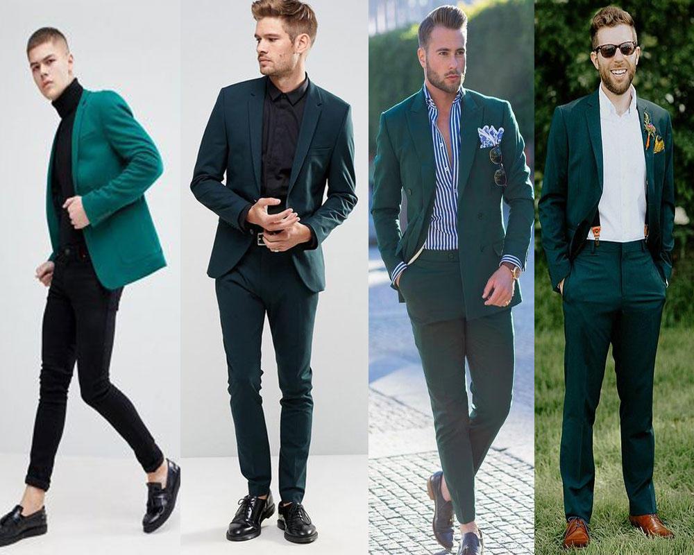 สูทสไตล์วัยรุ่น สีเขียว ทรง Slim Fit