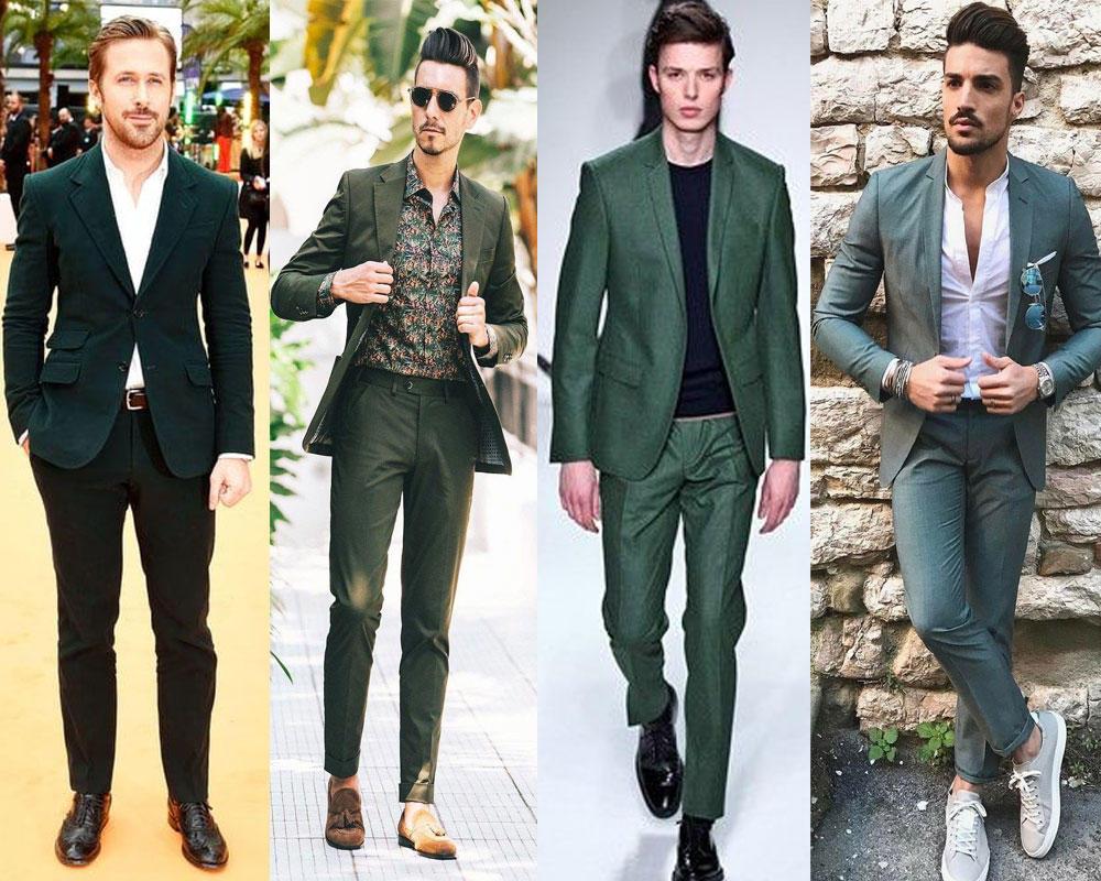 สไตล์เพื่อนเจ้าบ่าว ในชุดสูทสีเขียว แบบหนึ่งกระดุม