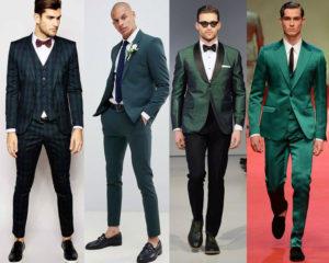 ชุดสูททางการ สีเขียว ทรง Slim Fit