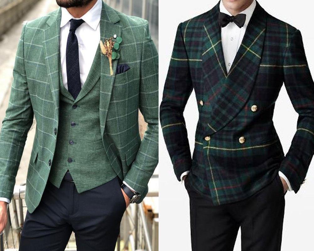 ชุดสูทลายตารางสีเขียว สไตล์วินเทจ แมทซ์กับเสื้อเชิ้ตสีขาว