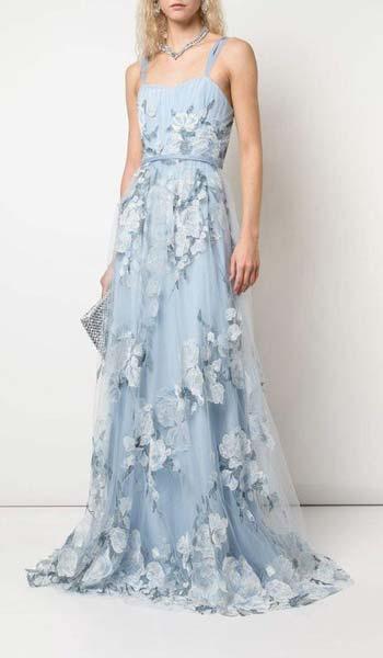 ผ้าเเต่งลูกไม้สไตล์น่ารักเหมาะกับสาวสายหวานสายเดียวสีฟ้า