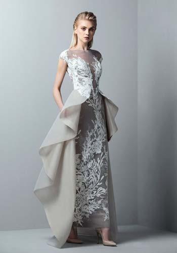 ผ้าชีฟองสีเทาลูกไม้ซีทรูทั้งชุดเเขนสั้นเสริมผ้าคลุมช่วงเอว