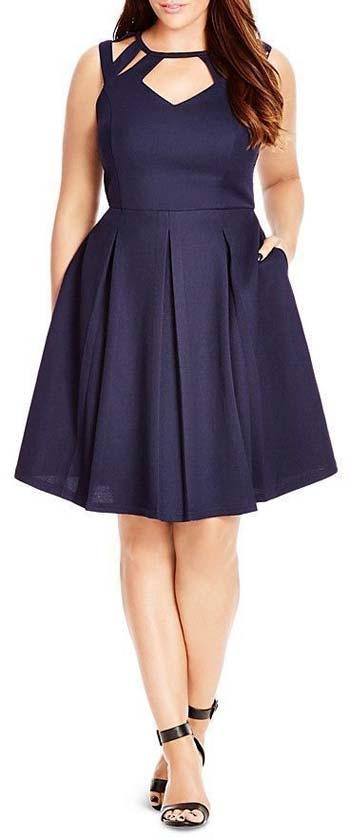 ผ้าเรียบสีน้ำเงินแบบชุดสั้นเน้นเอวกระโปรงทรงสุ่มจับจีบรอบตัว