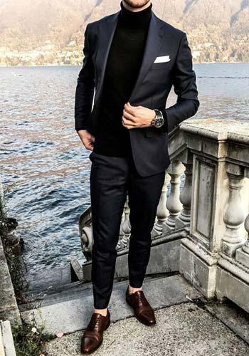 ผ้าเงาหรูหราทรงSlim Fit แบบหนึ่งกระดุมแมตท์เสื้อไหมพรมสีดำ