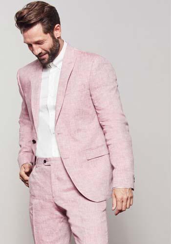 ผ้าไหมสุดหรูกับชุดสูทสีชมพูอ่อนแบบหนึ่งดุมทรง Slim Fit