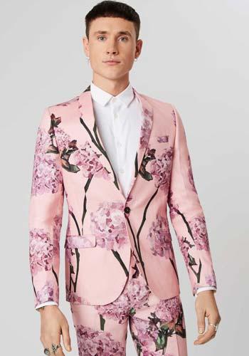 ชุดสูทสีชมพูลายดอกไม้แบบหนึ่งกระดุมทรงSlim Fit