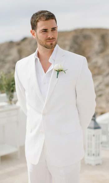 สไตล์เรียบหรู ทรง Slim Fitชุดสูทสีขาว กระดุมหนึ่งเม็ด