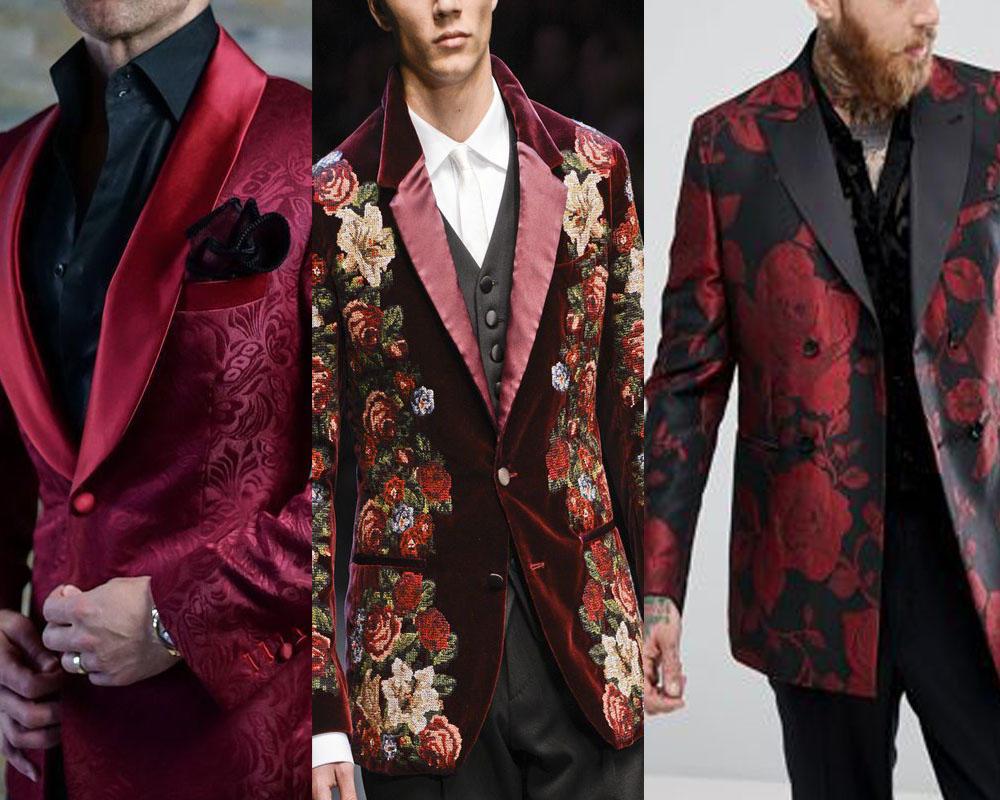 ทักซิโด้สีเเดงลุควินเทจสุดหรูเเมตท์กับกางเกงทรง Slim Fit สีดำ