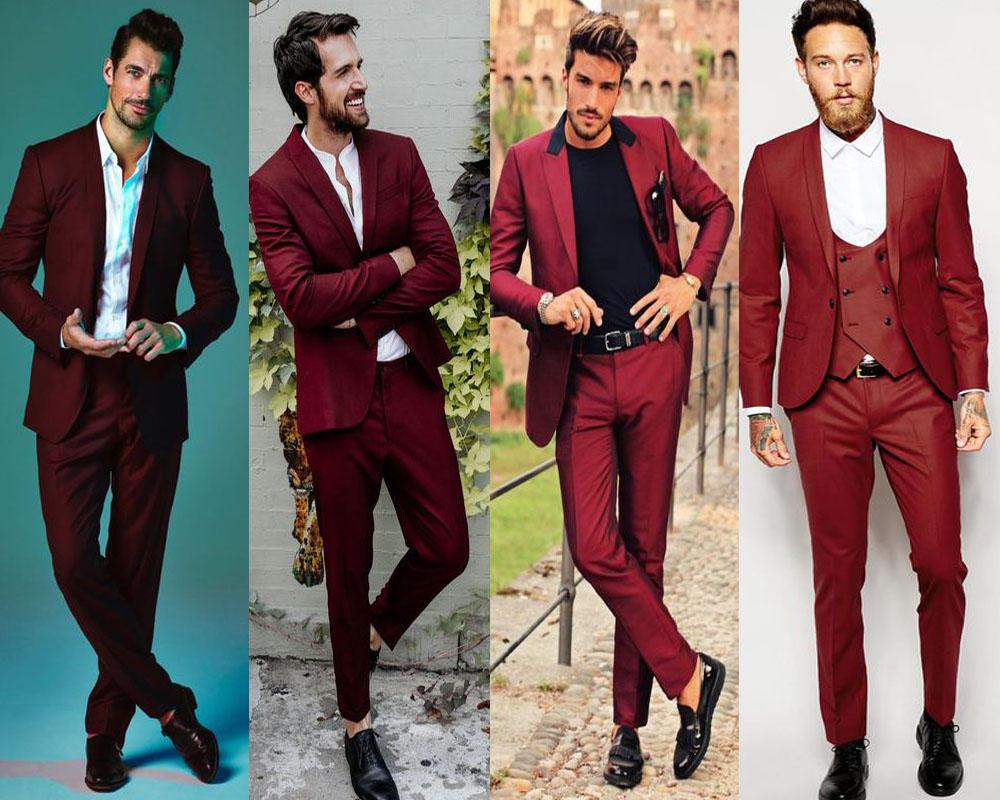 สไตล์สุดชิคในชุดสูทสีเเดงแบบหนึ่งกระดุมทรง Slim fit ใส่ไปงานเเต่งไม่ซ้ำใคร