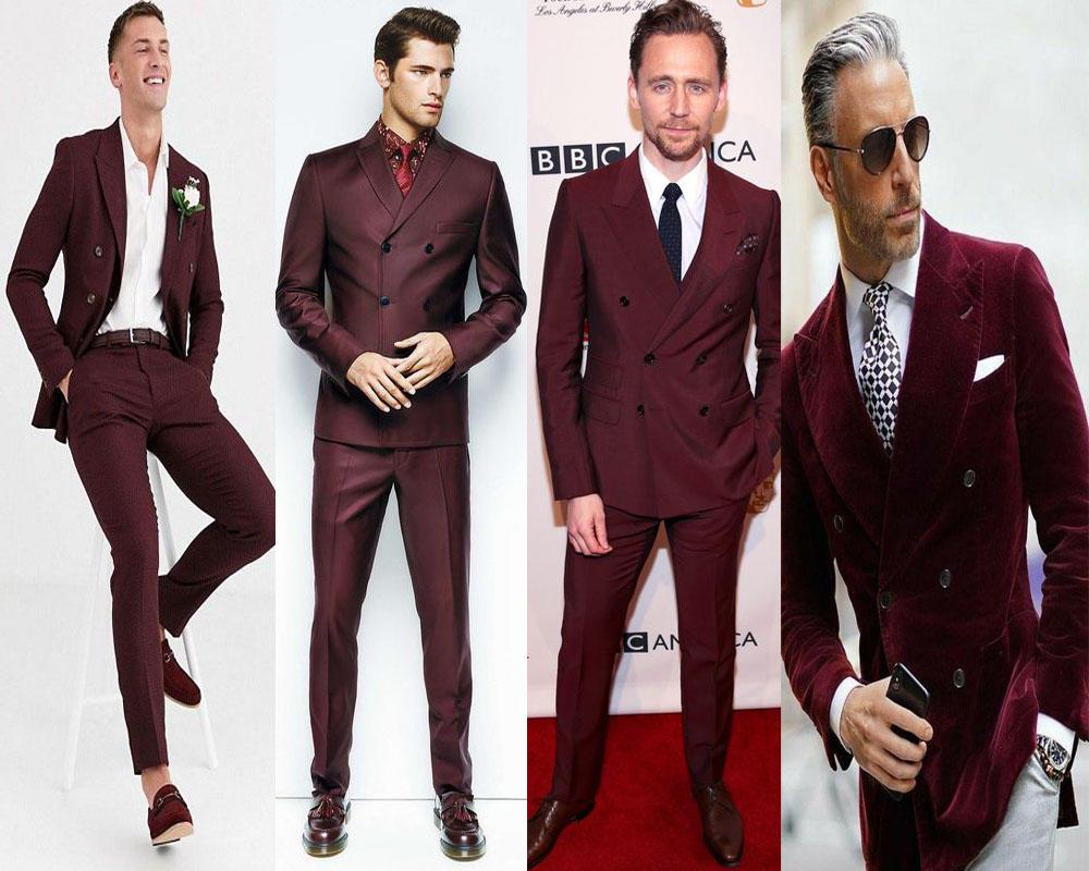 ชุดสูทสีเเดงทรงSlim Fit แมตท์กับเสื้อเชิ๊ต