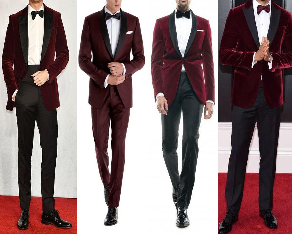 แบบชุดสูททักซิโด้ปกดำผ้ากำหมะหยี่สีเเดงแบบเข้ารูป ทรง Slim Fit