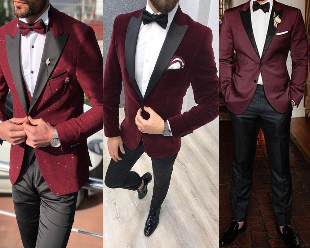 เสื้อสูททักซิโด้สีเเดง เเมตท์กับหูกระต่ายสีดำเข้าชุด