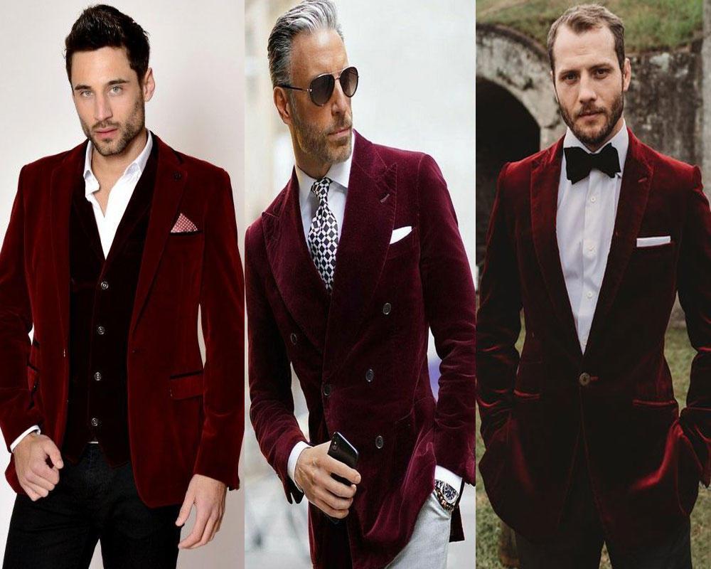 ชุดสูทสีเเดงเพิ่มความหรูหราด้วยผ้ากำมะหยี่ เข้ารูป