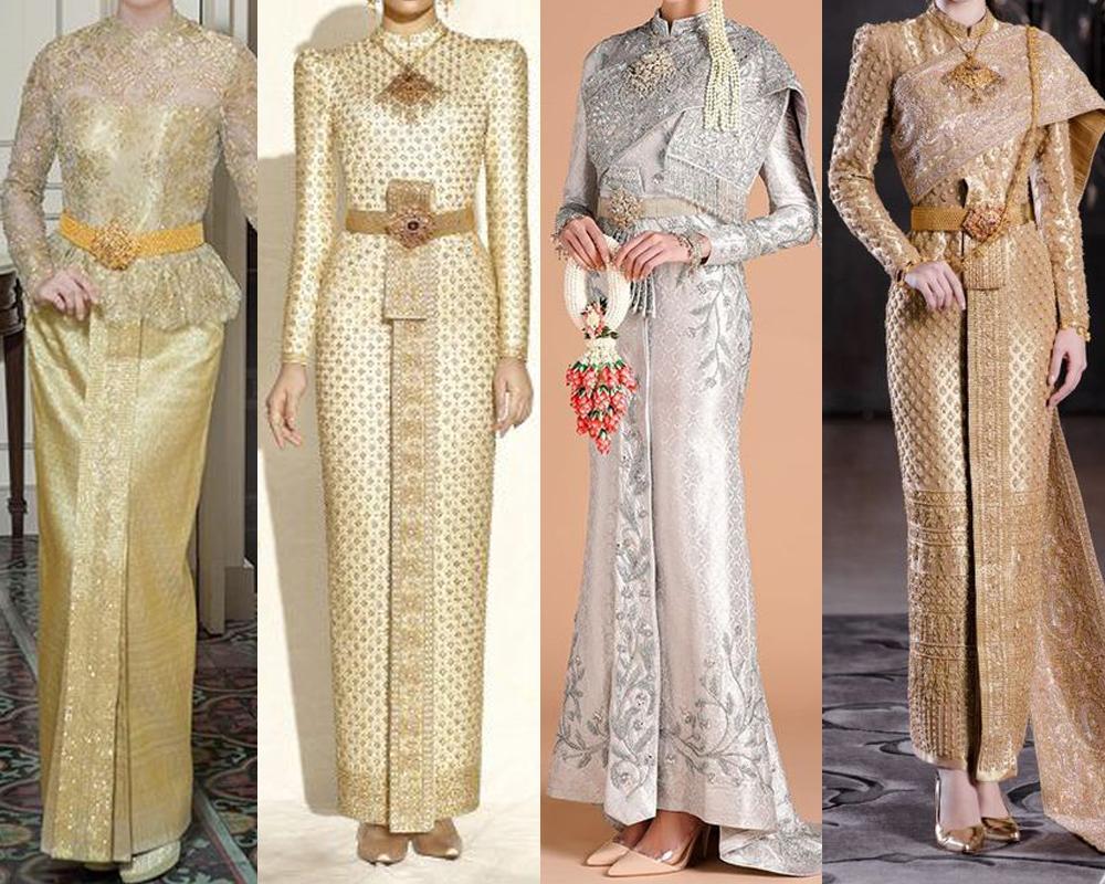 ชุดไทยแบบงานเช้าแบบหรูหรา เน้นลายผ้าไทยสวยงาม