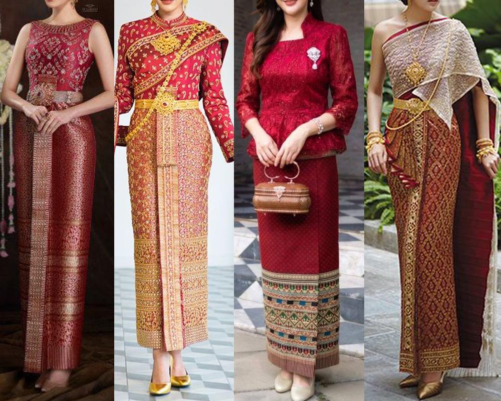 สีแดงเบอร์กันดี้ให้แบบของชุดไทยประยุกต์