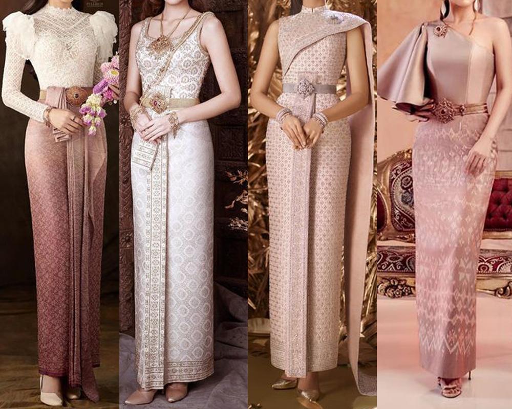 ชุดไทยหรือแบบไทยประยุกต์ สไตล์ผ้าไหม ผ้าไทย